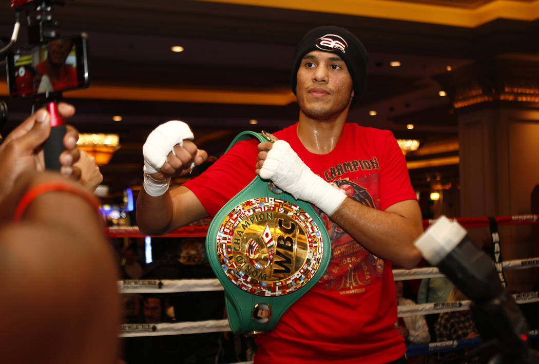 WBC super middleweight champion David Benavidez in the ring during the open workouts at the Mandalay Bay in Las Vegas, Wednesday, Feb. 14, 2018. Heidi Fang Las Vegas Review-Journal @HeidiFang