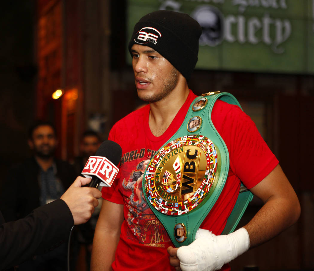 WBC super middleweight champion David Benavidez is interviewed during the open workouts at the Mandalay Bay in Las Vegas, Wednesday, Feb. 14, 2018. Heidi Fang Las Vegas Review-Journal @HeidiFang