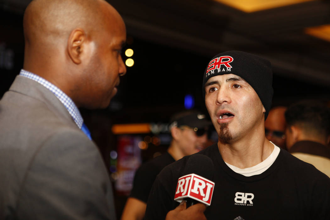 Welterweight boxer Brandon Rios is interview by the Review-Journal's Bryan Salmond during the open workouts at the Mandalay Bay in Las Vegas, Wednesday, Feb. 14, 2018. Heidi Fang Las Vegas Review- ...