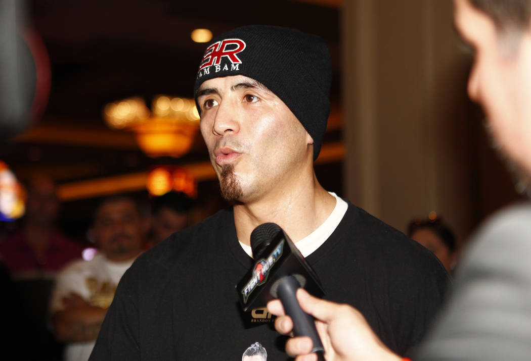 Welterweight boxer Brandon Rios addresses the media during the open workouts at the Mandalay Bay in Las Vegas, Wednesday, Feb. 14, 2018. Heidi Fang Las Vegas Review-Journal @HeidiFang