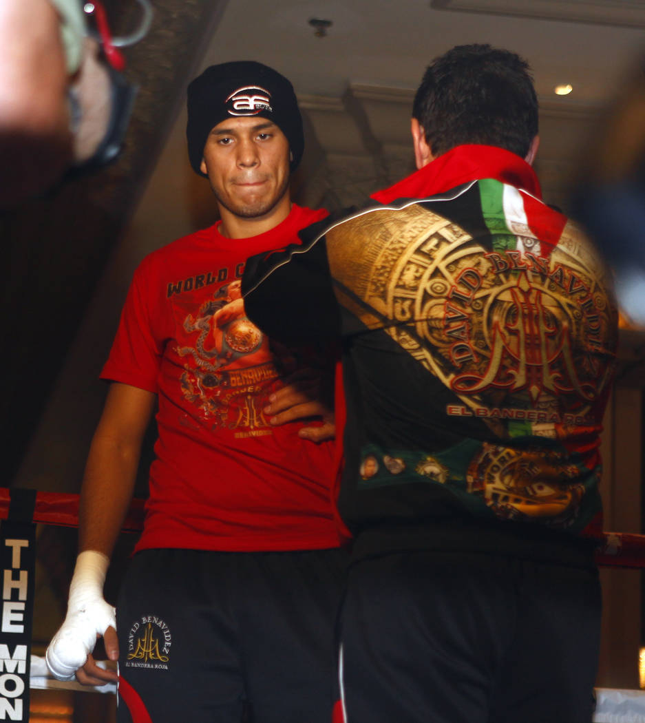 WBC super middleweight champion David Benavidez gets his gloves put on during the open workouts at the Mandalay Bay in Las Vegas, Wednesday, Feb. 14, 2018. Heidi Fang Las Vegas Review-Journal @Hei ...