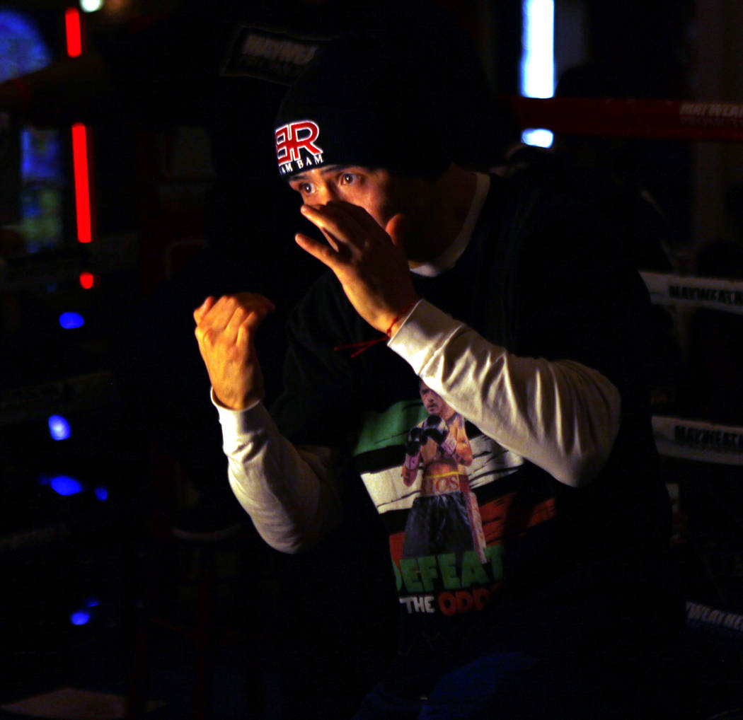 Welterweight Brandon Rios, who will headline the boxing card at the Mandalay Bay on Feb. 17 against Danny Garcia, shadow boxes during the open workouts in Las Vegas, Wednesday, Feb. 14, 2018. Heid ...