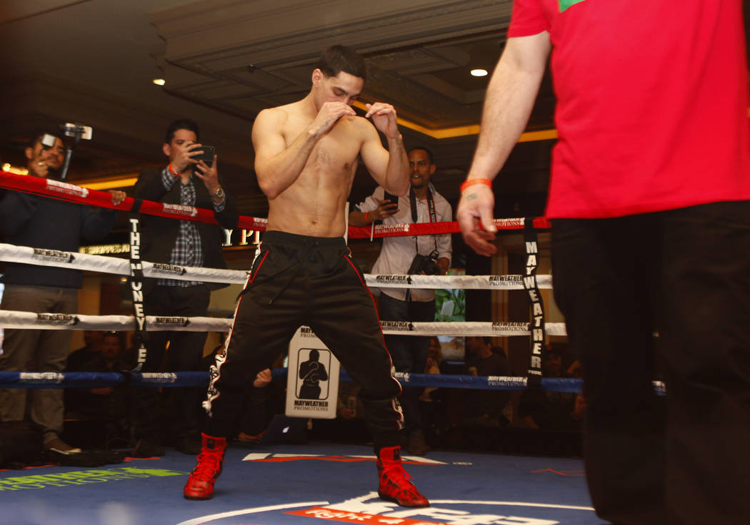 Welterweight boxer Danny Garcia prepares to throw punches during the open workouts at the Mandalay Bay in Las Vegas, Wednesday, Feb. 14, 2018. Heidi Fang Las Vegas Review-Journal @HeidiFang