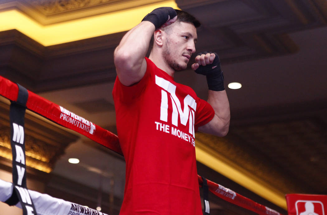 Super middleweight title contender Ronald Gavril at the open workouts at the Mandalay Bay in Las Vegas, Wednesday, Feb. 14, 2018. Heidi Fang Las Vegas Review-Journal @HeidiFang