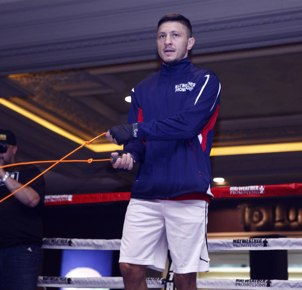 Super middleweight title contender Ronald Gavril jumps rope at the open workouts at the Mandalay Bay in Las Vegas, Wednesday, Feb. 14, 2018. Heidi Fang Las Vegas Review-Journal @HeidiFang