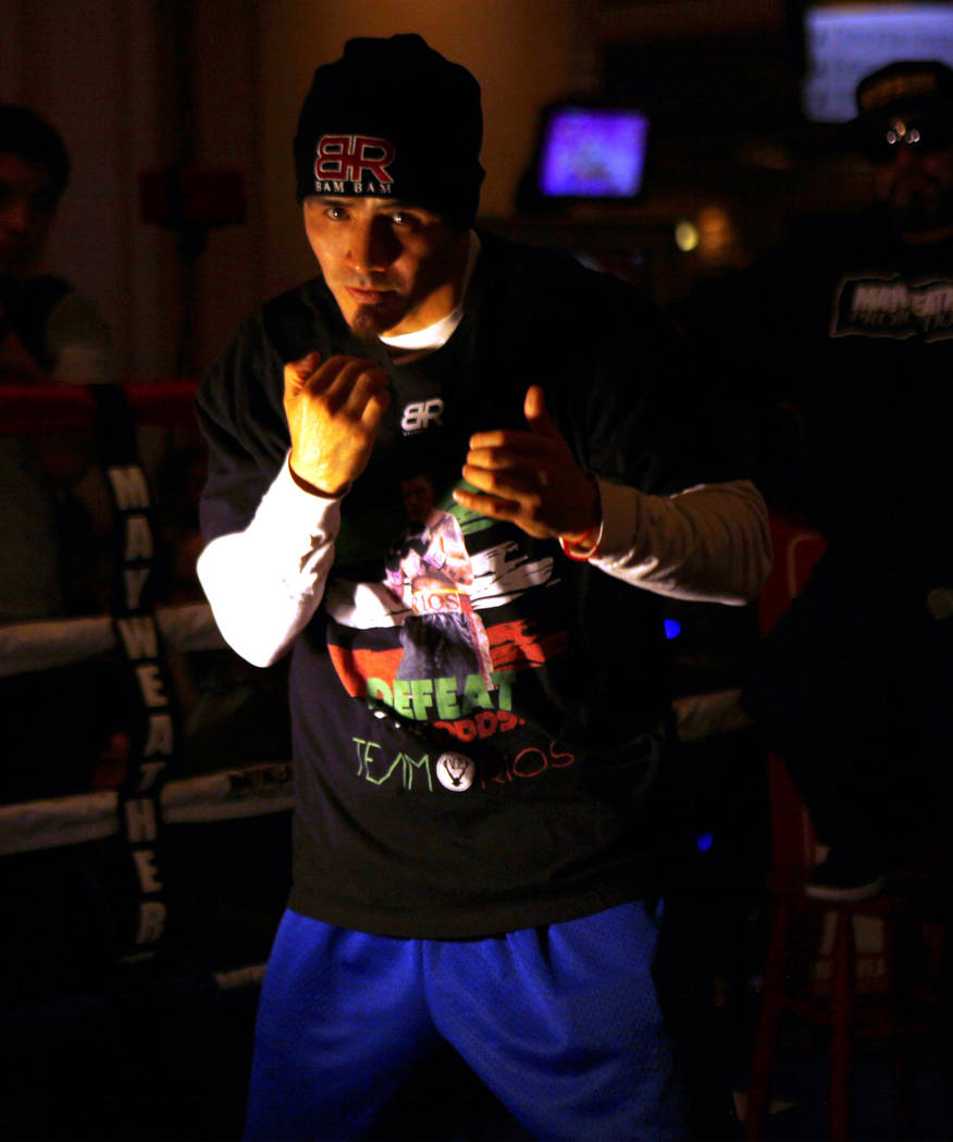 Welterweight Brandon Rios, who will headline the boxing card at the Mandalay Bay on Feb. 17, shadow boxes during the open workouts in Las Vegas, Wednesday, Feb. 14, 2018. Heidi Fang Las Vegas Revi ...