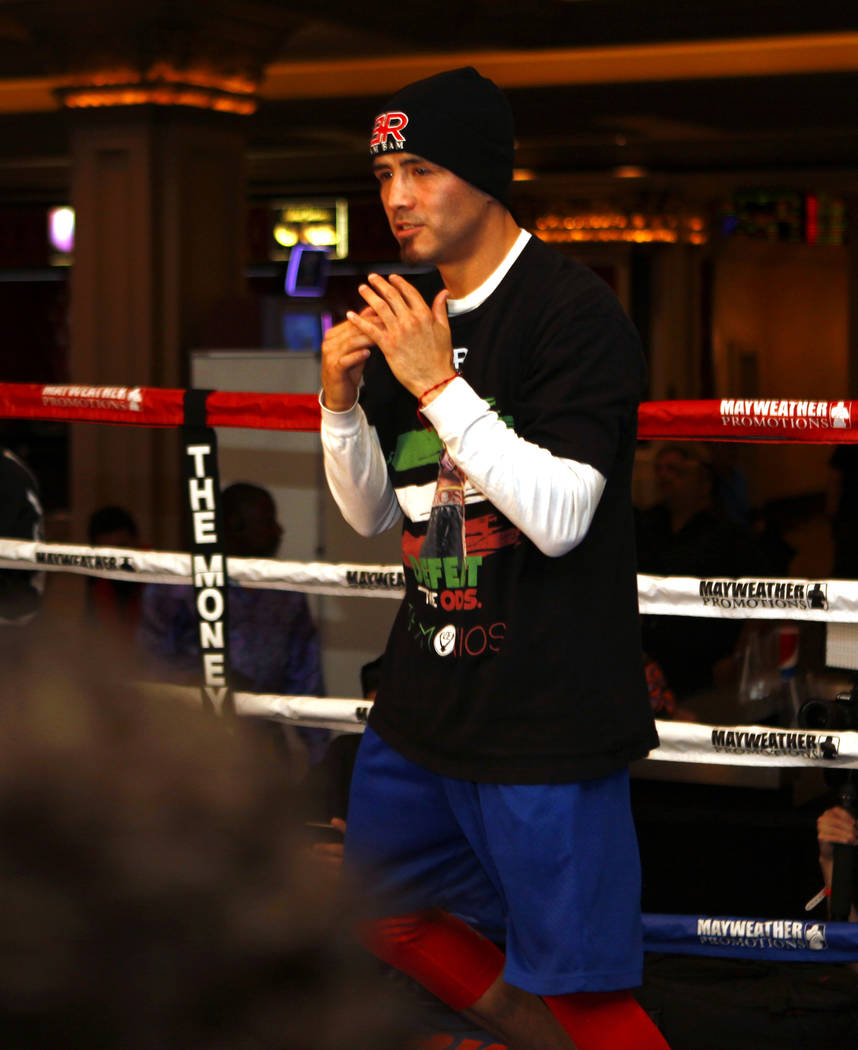 Boxing welterweight Brandon Rios shadow boxes during the open workouts at the Mandalay Bay in Las Vegas, Wednesday, Feb. 14, 2018. Heidi Fang Las Vegas Review-Journal @HeidiFang
