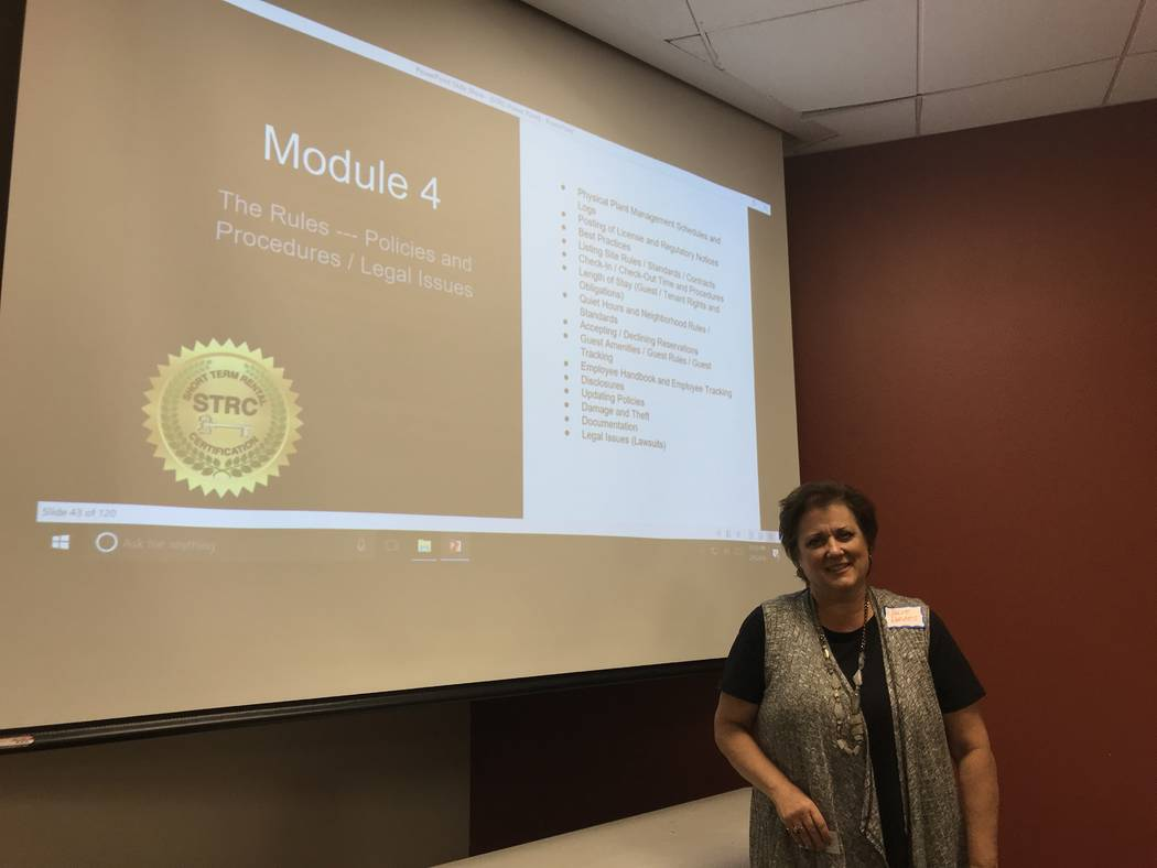 Short-term rental certification instructor Julie Davies stands in front of the classroom at the College of Southern Nevada West Charleston campus on Feb. 9, 2018. (Madelyn Reese/ Las Vegas Review- ...