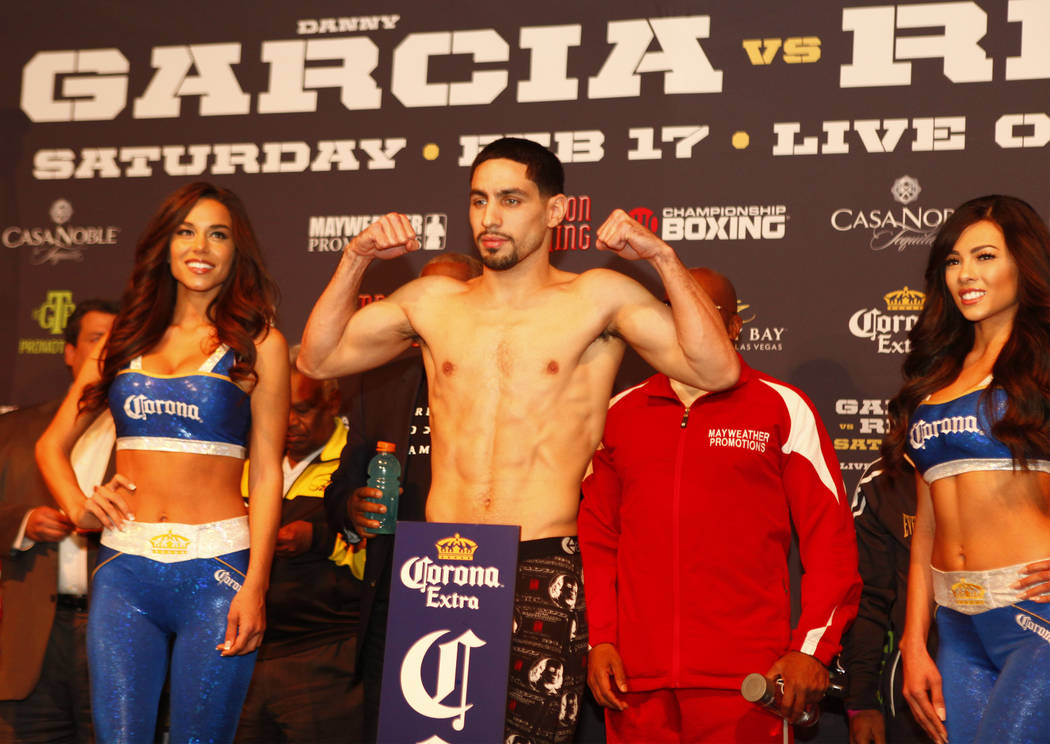Boxing welterweight Danny Garcia on the scale during the official weigh-in at the Mandalay Bay in Las Vegas, Friday, Feb. 16, 2018. Heidi Fang Las Vegas Review-Journal @HeidiFang