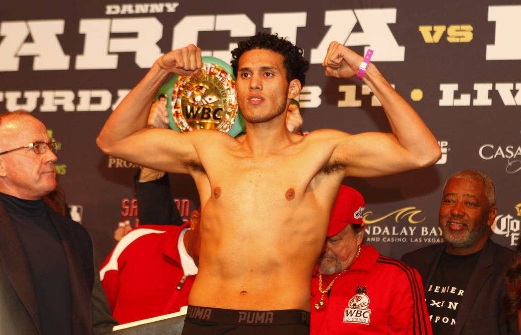 WBC super middleweight boxing champion David Benavidez on the scale during the official weigh-in at the Mandalay Bay in Las Vegas, Friday, Feb. 16, 2018. Heidi Fang Las Vegas Review-Journal @HeidiFang