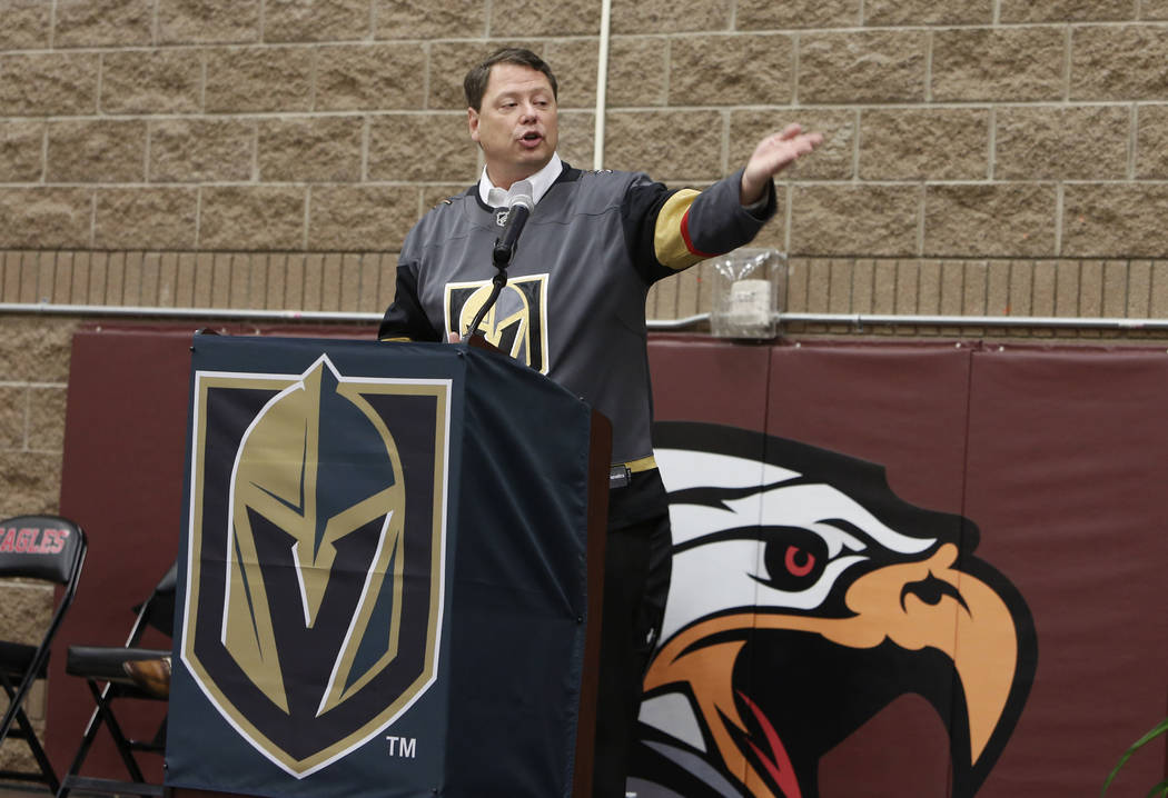 Pat Skorkowsky, Clark County schools superintendent, speaks at Walter Johnson Junior High School on Monday, Feb. 12, 2018, in Las Vegas. Kerry Bubolz, president Vegas Golden Knights, not photograp ...
