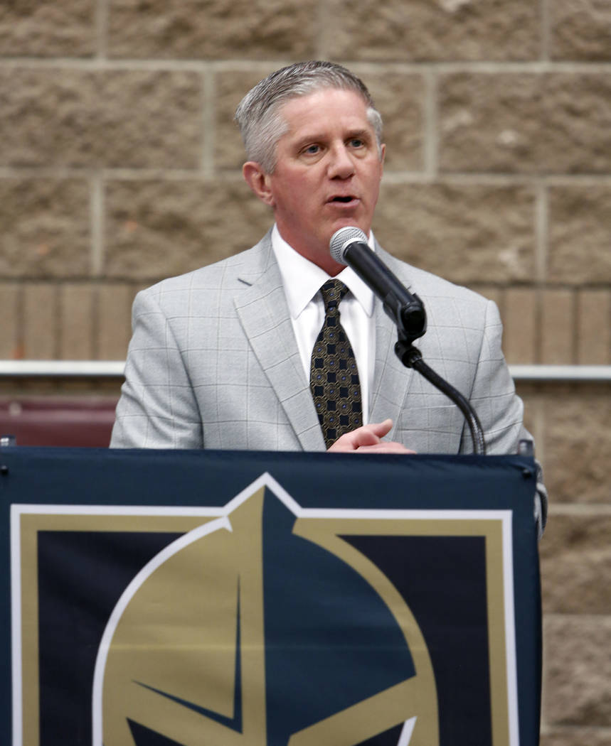 Kerry Bubolz, president Vegas Golden Knights, speaks at Walter Johnson Junior High School on Monday, Feb. 12, 2018, in Las Vegas. Bubolz announced the team and Clark County School District will br ...