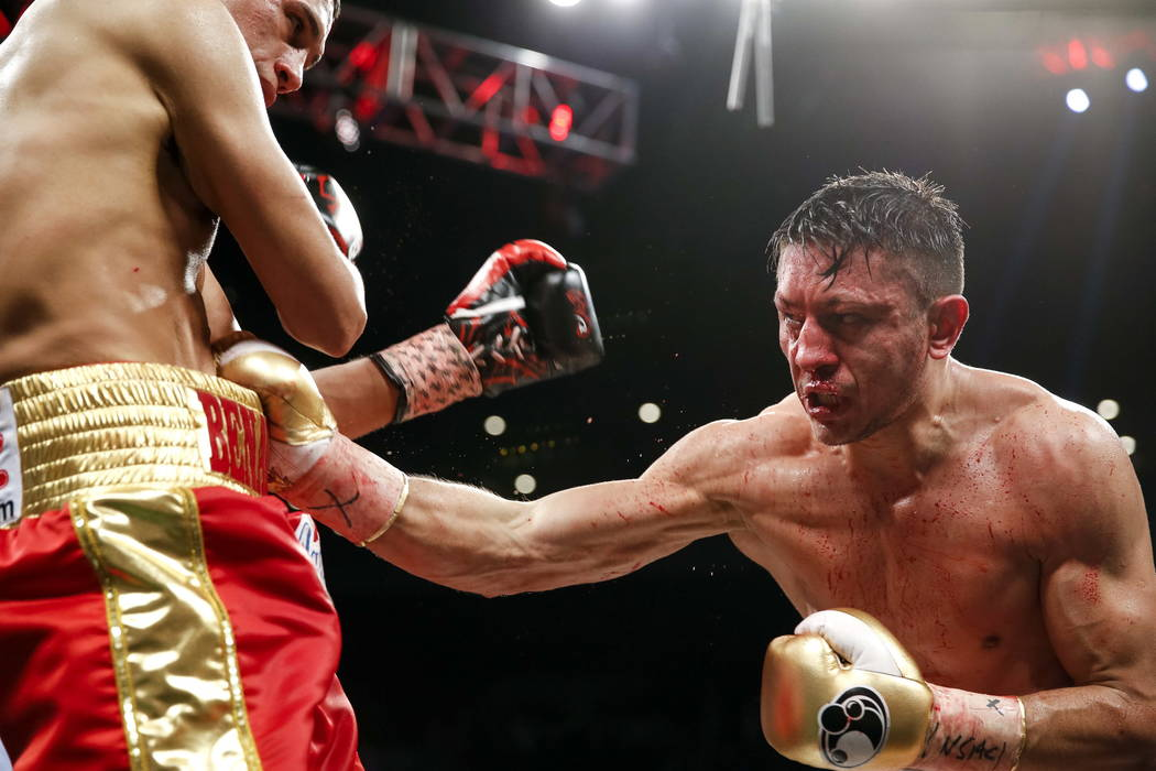 Ronald Gavril of Las Vegas punches at David Benavidez of Arizona during their WBC super middleweight title fight at the Mandalay Bay Events Center in Las Vegas on Saturday, Feb. 17. Richard Brian  ...