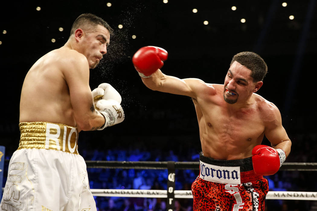 Danny Garcia of Pennsylvania, right, connects on Brandon Rios of California during a welterweight boxing match at the Mandalay Bay Events Center in Las Vegas on Saturday, Feb. 17. Richard Brian La ...