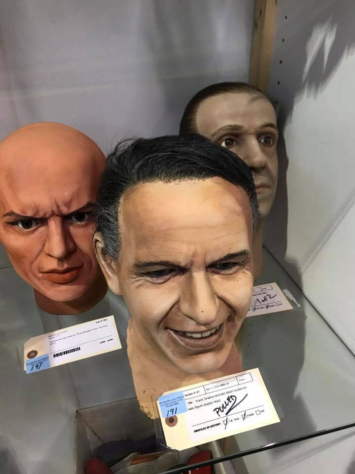 A collection of heads from wax figures collected by Debbie Reynolds will be on sale Sunday at Todd Fisher's estate sale. From left are Yul Brynner, Frank Sinatra and Fred Astaire. (McManus Auctions)