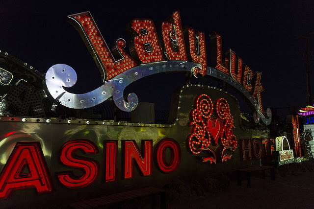 "The Lady Luck hotel-casino sign from the light show ""Brilliant,"" which re-animates many classic-Vegas signs at Neon Museum. (Neon Museum)"