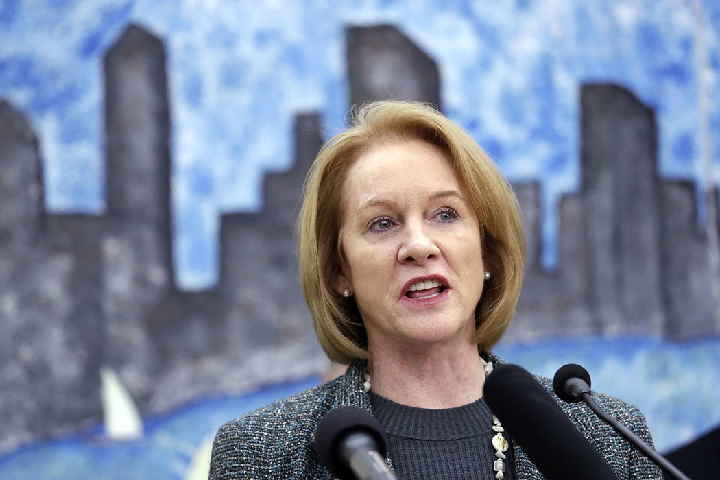 Seattle Mayor Jenny Durkan speaks at a news conference announcing plans for the city to move to vacate misdemeanor marijuana possession convictions, Thursday, Feb. 8, 2018, in Seattle. (AP Photo/E ...
