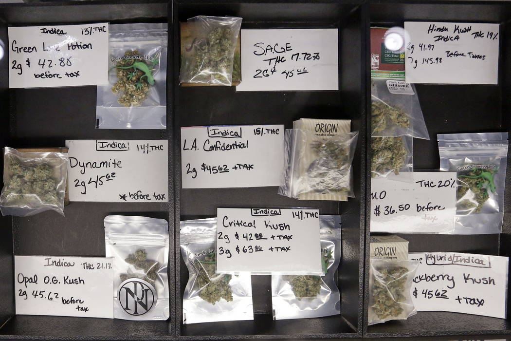 Packaged marijuana is displayed for sale at retail shop Cannabis City in Seattle. (AP Photo/Elaine Thompson, File)