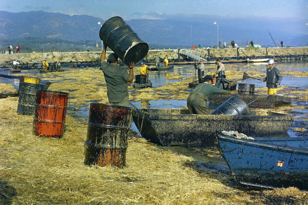 Workers collect oil-soaked straw from the beach at Santa Barbara Harbor, Calif., following a leak from an off-shore well that covered area beaches in 1969. (AP Photo, FILE)