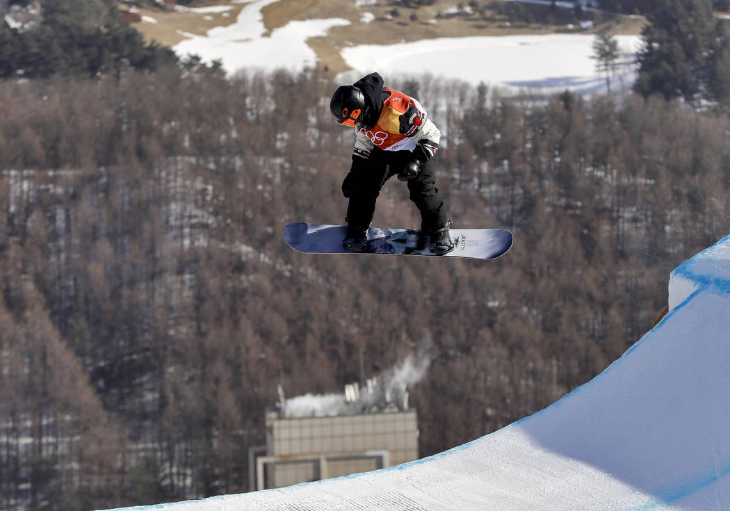 SebastienToutant, of Canada, jumps during the men's slopestyle final at Phoenix Snow Park at the 2018 Winter Olympics in Pyeongchang, South Korea, Sunday, Feb. 11, 2018. (AP Photo/Kin Cheung)