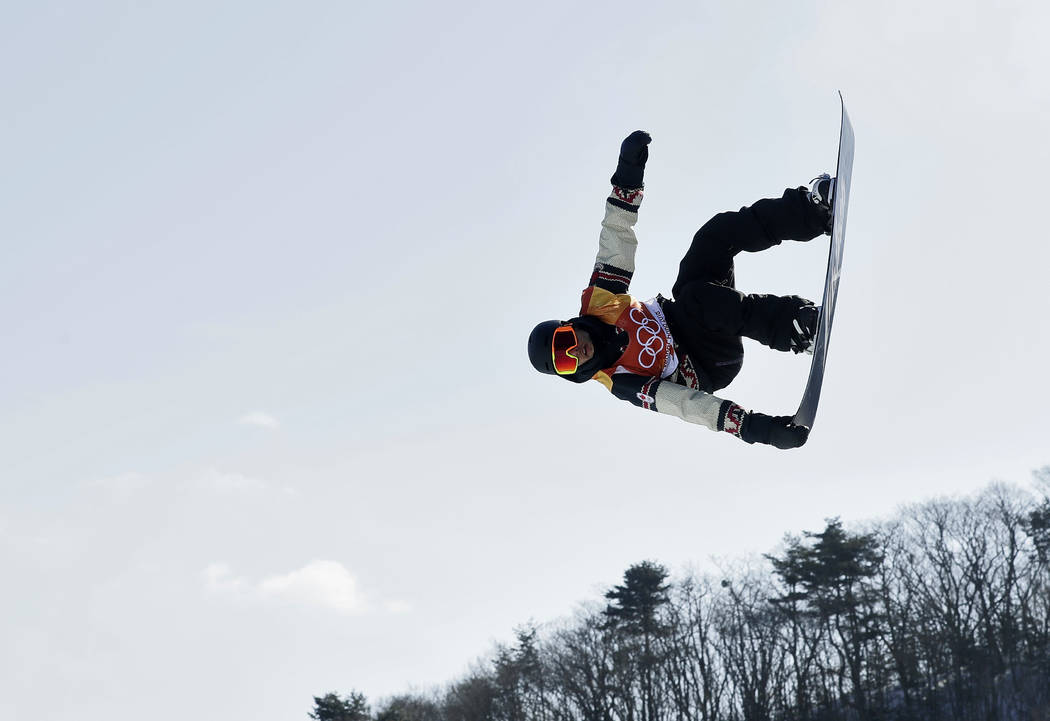 TylerNicholson, of Canada, jumps during the men's slopestyle final at Phoenix Snow Park at the 2018 Winter Olympics in Pyeongchang, South Korea, Sunday, Feb. 11, 2018. (AP Photo/Kin Cheung)