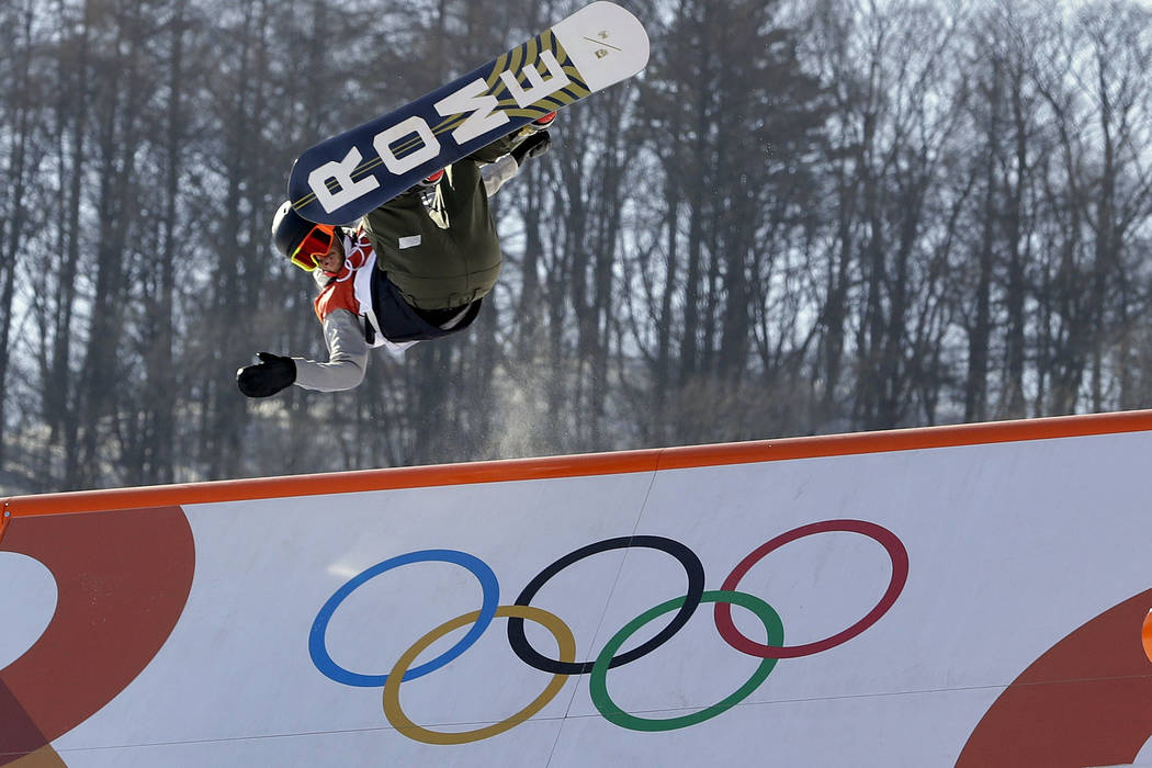StaaleSandbech, of Norway, jumps during the men's slopestyle final at Phoenix Snow Park at the 2018 Winter Olympics in Pyeongchang, South Korea, Sunday, Feb. 11, 2018. (AP Photo/Kin Cheung)