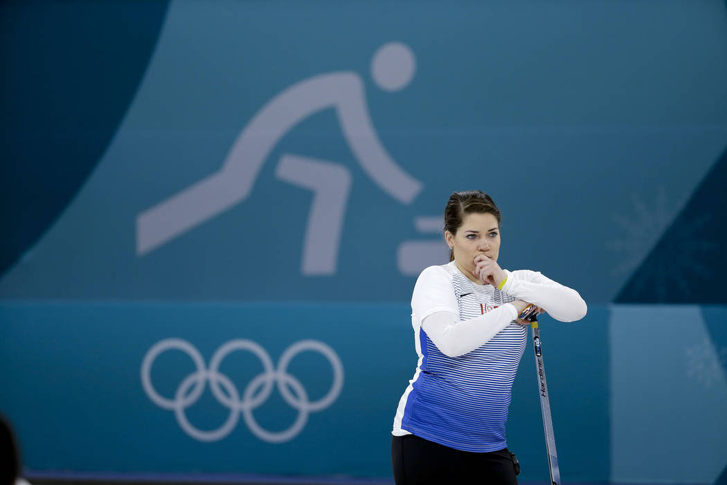 United States' Becca Hamilton stands on the ice during a mixed doubles curling match against Finland Oona Kauste and Tomi Rantamaeki at the 2018 Winter Olympics in Gangneung, South Korea, Sunday,  ...