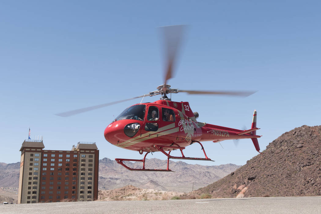 A tour group leaves Papillon Grand Canyon Helicopters' new Hoover Dam helipad located adjacent to Hoover Dam Lodge hotel-casino in Boulder City, Thursday, Sept. 8, 2016. Jason Ogulnik/Las Vegas Re ...