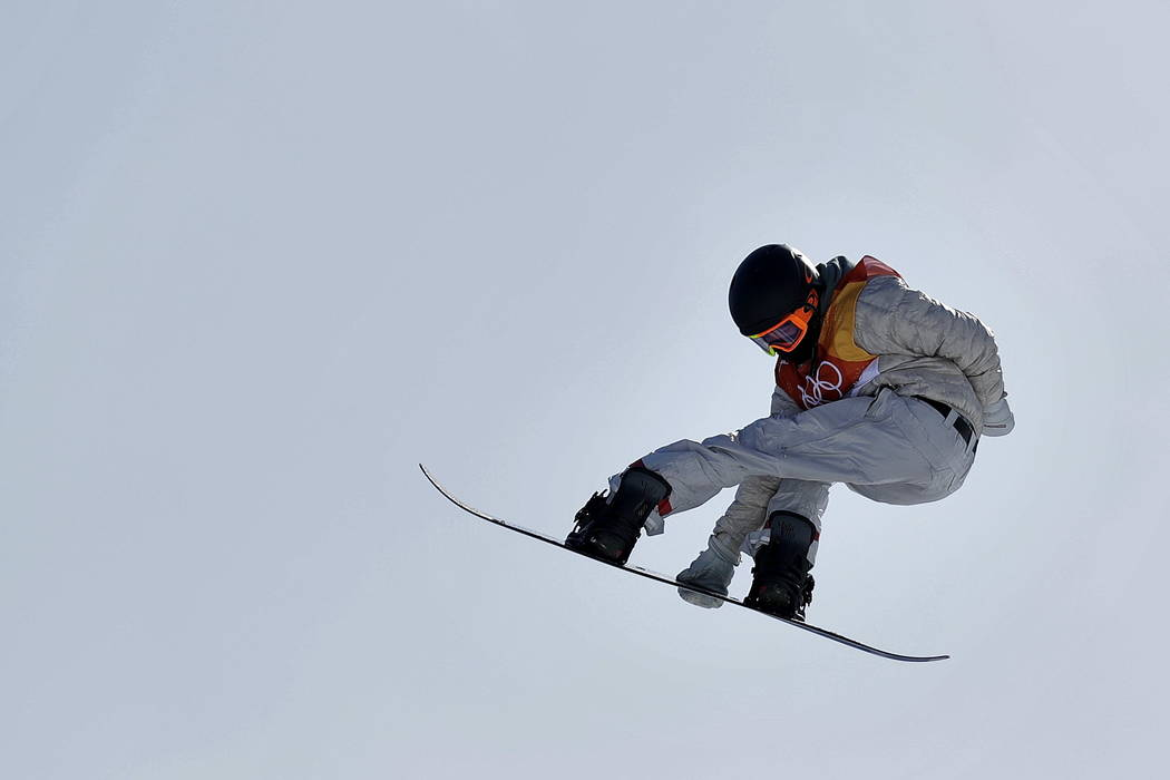 RedGerard, of the United States, jumps during the men's slopestyle final at Phoenix Snow Park at the 2018 Winter Olympics in Pyeongchang, South Korea, Sunday, Feb. 11, 2018. (AP Photo/Gregor ...