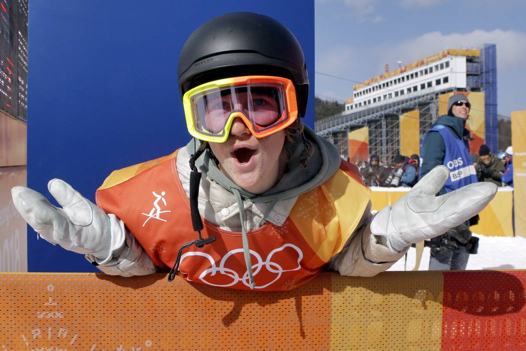 RedGerard, of the United States, smiles after winning gold in the men's slopestyle final at Phoenix Snow Park at the 2018 Winter Olympics in Pyeongchang, South Korea, Sunday, Feb. 11, 2018.  ...