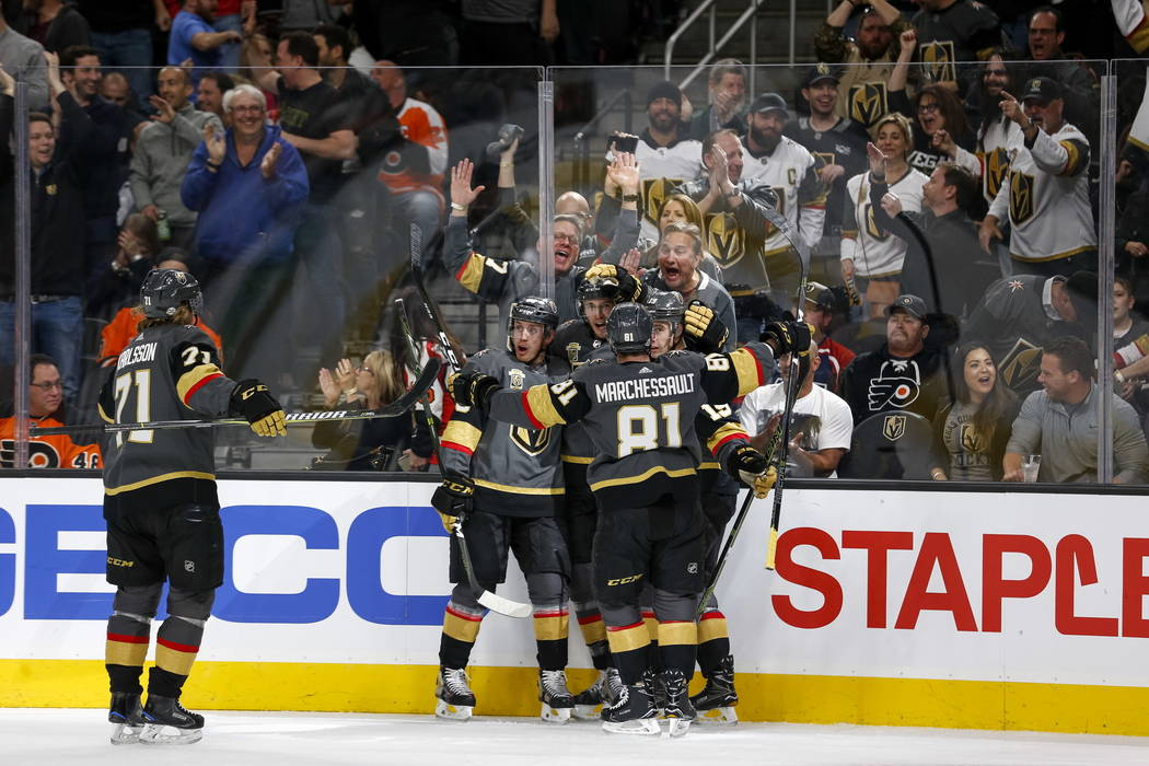 Vegas Golden Knights celebrate a goal by defenseman Brayden McNabb (3) during the first period of an NHL hockey game between the Vegas Golden Knights and the Philadelphia Flyers at T-Mobile Arena  ...