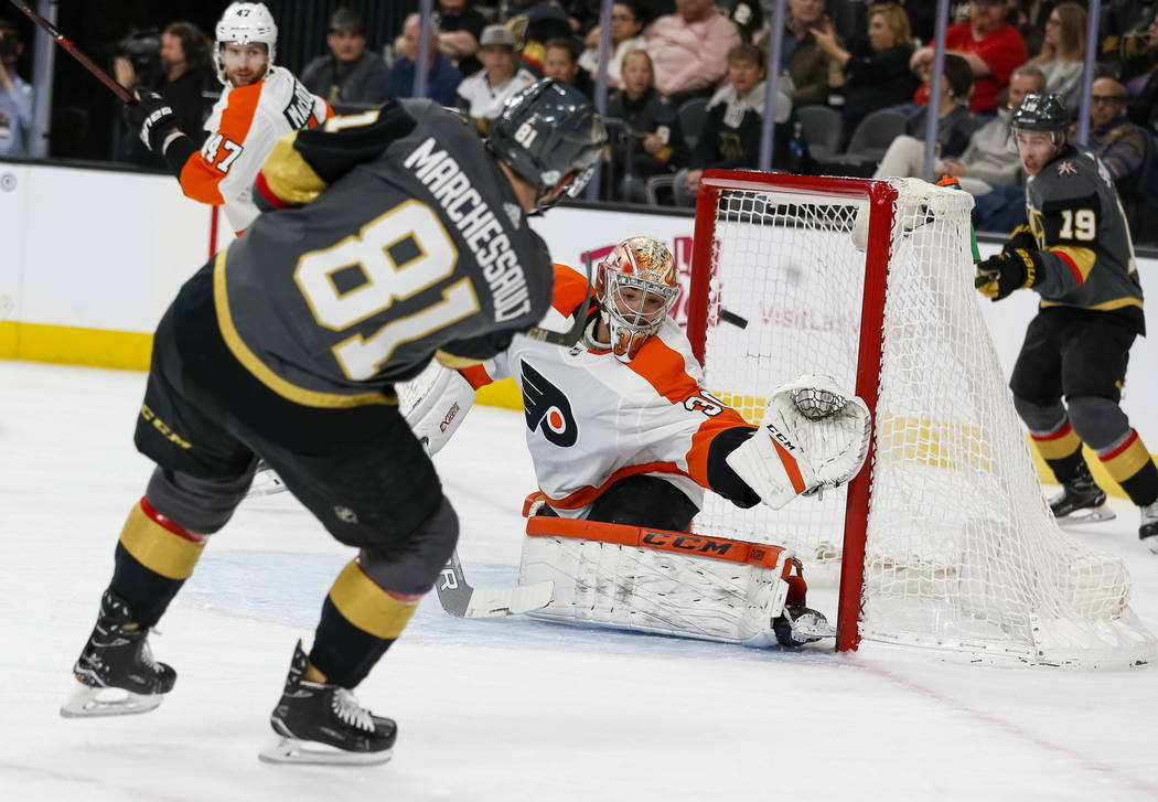 Vegas Golden Knights center Jonathan Marchessault (81) takes a shot at Philadelphia Flyers goaltender Michal Neuvirth (30) during the first period of an NHL hockey game between the Vegas Golden Kn ...