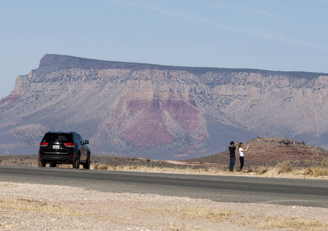 Visitors stop to take photos at Grand Canyon West on the Hualapai Nation Indian Reservation in Arizona on Sunday, Feb. 11, 2018.  (Patrick Connolly/Las Vegas Review-Journal) @PConnPie