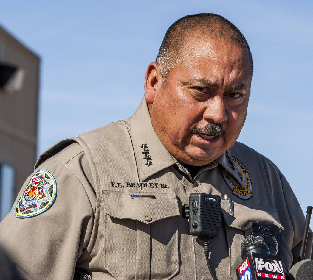 Chief Francis Bradley of the Halapai Nation Police Department gives a press conference at Grand Canyon West in Arizona on Sunday, Feb. 11, 2018.  Patrick Connolly Las Vegas Review-Journal @PConnPi ...