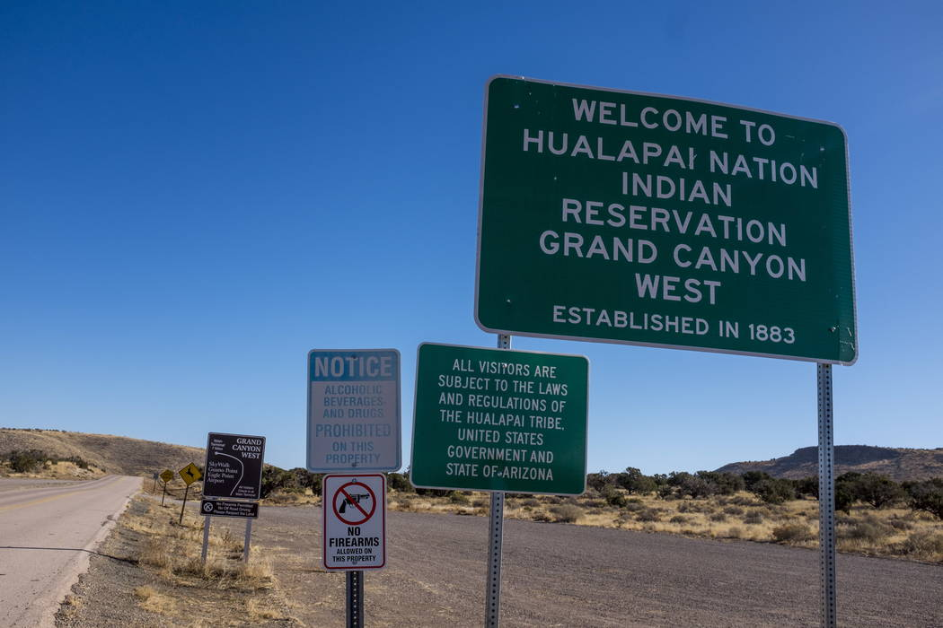 Signs to the entrance of Grand Canyon West and the Hualapai Nation Indian Reservation in Arizona on Sunday, Feb. 11, 2018.  According to Hualapai Nation police chief, a Papillon Grand Canyon helic ...