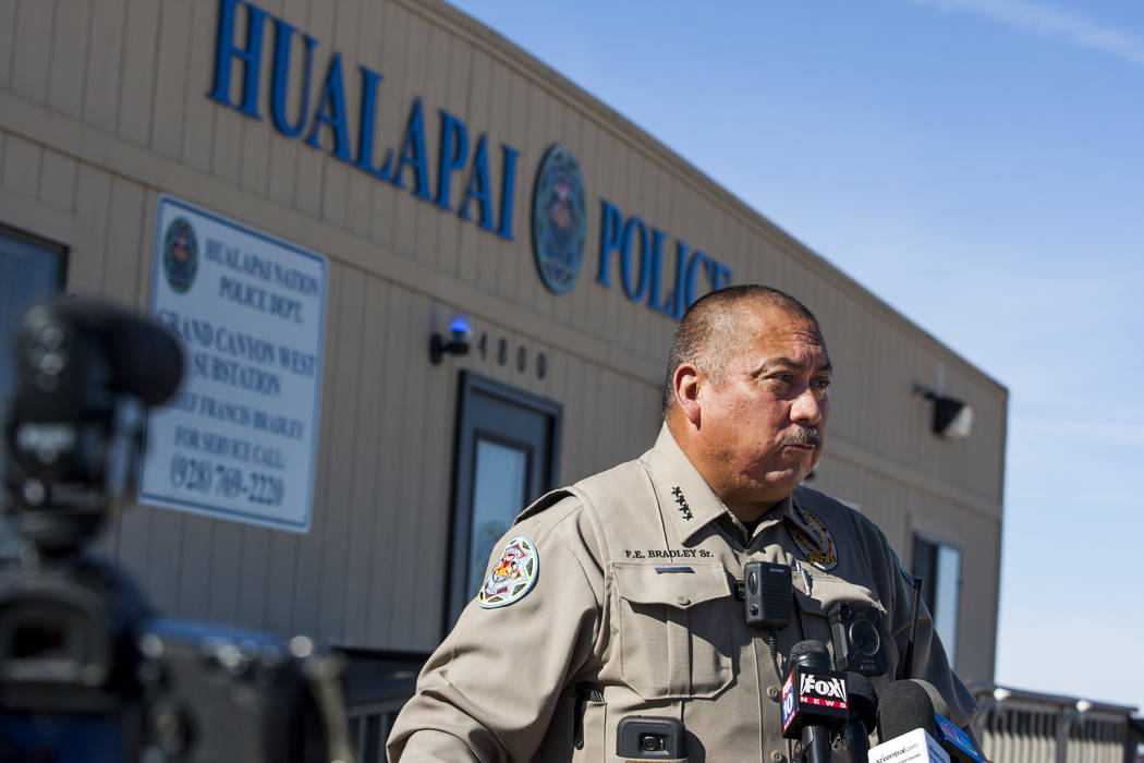 Chief Francis Bradley of the Hualapai Nation Police Department gives a press conference at Grand Canyon West in Arizona on Sunday, Feb. 11, 2018.  Patrick Connolly Las Vegas Review-Journal @PConnP ...