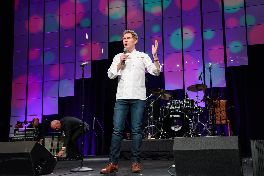Star chef Bobby Flay is shown onstage at the Vegas Heroes Dinner at Caesars Palace on Saturday, Feb. 11, 2018 (Kabik Photo Group)