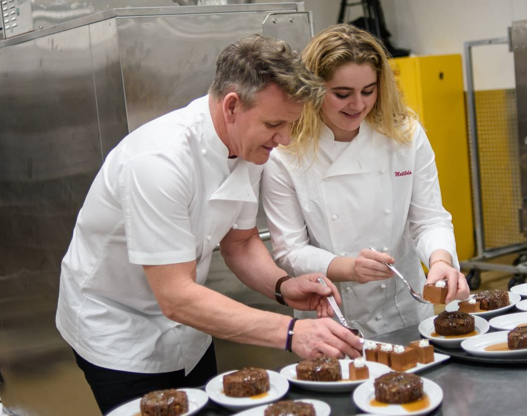 Gordon and Matilda Ramsay are shown in the kitchen at the Vegas Heroes Dinner at Caesars Palace on Saturday, Feb. 11, 2018 (Kabik Photo Group)