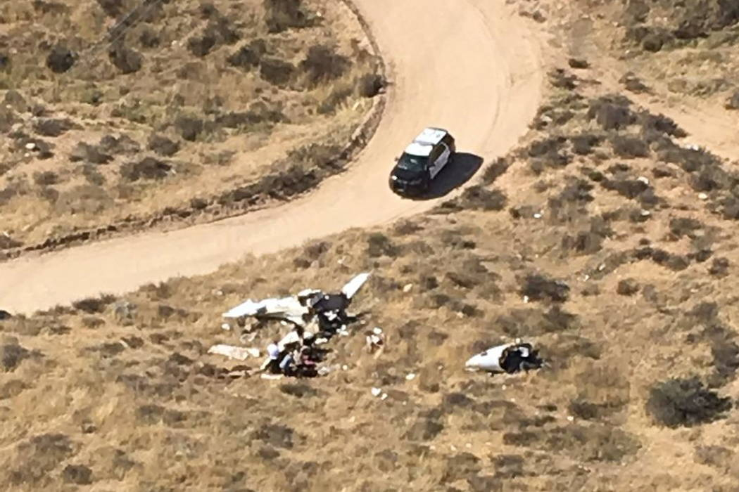 The scene of a plane crash Sunday, Feb 11, 2018, morning in a remote area near Agua Dulce, Calif. (Los Angeles County Sheriff Department/Special Enforcement Bureau/Air Rescue 5 via AP)