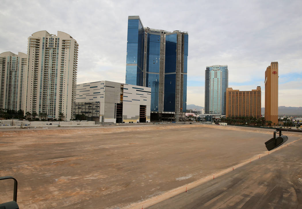 The unfinished Fontainebleau project on the Las Vegas Strip has a new name -- The Drew Las Vegas -- and its opening will be in late 2020. (Bizuayehu Tesfaye/Las Vegas Review-Journal) @bizutesfaye