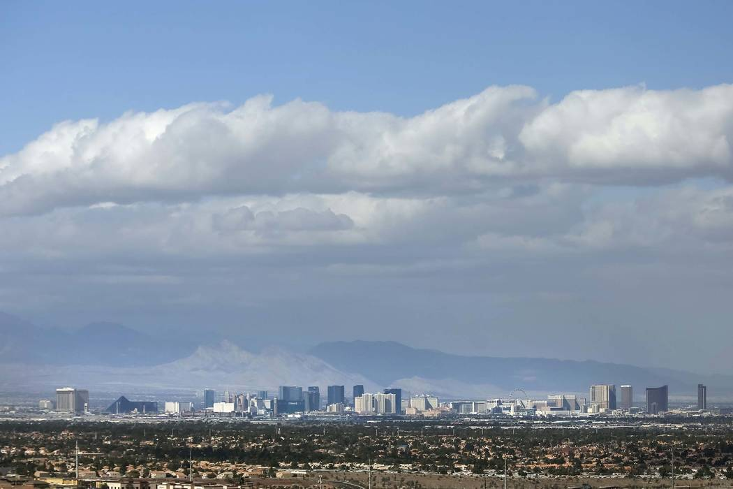 Clouds move in from the south as seen from the Aurora's Edge in Henderson, Monday, Feb. 12, 2018. (Richard Brian Las Vegas Review-Journal) @vegasphotograph