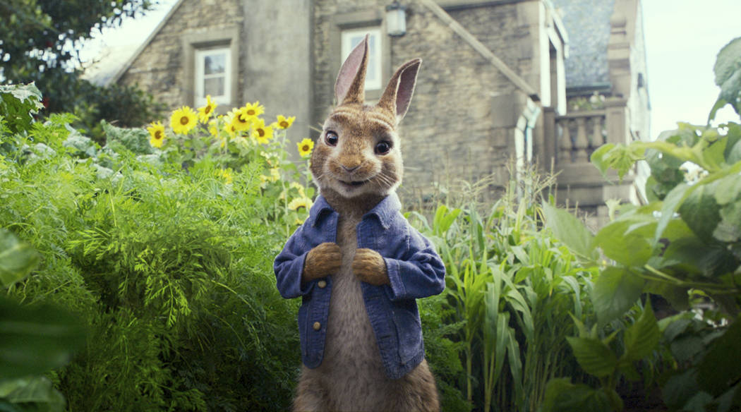 """FILE - This image released by Columbia Pictures shows Peter Rabbit, voiced by James Corden and Cottontail in a scene from """"Peter Rabbit.""""  The filmmakers and the studio behind it ..."""