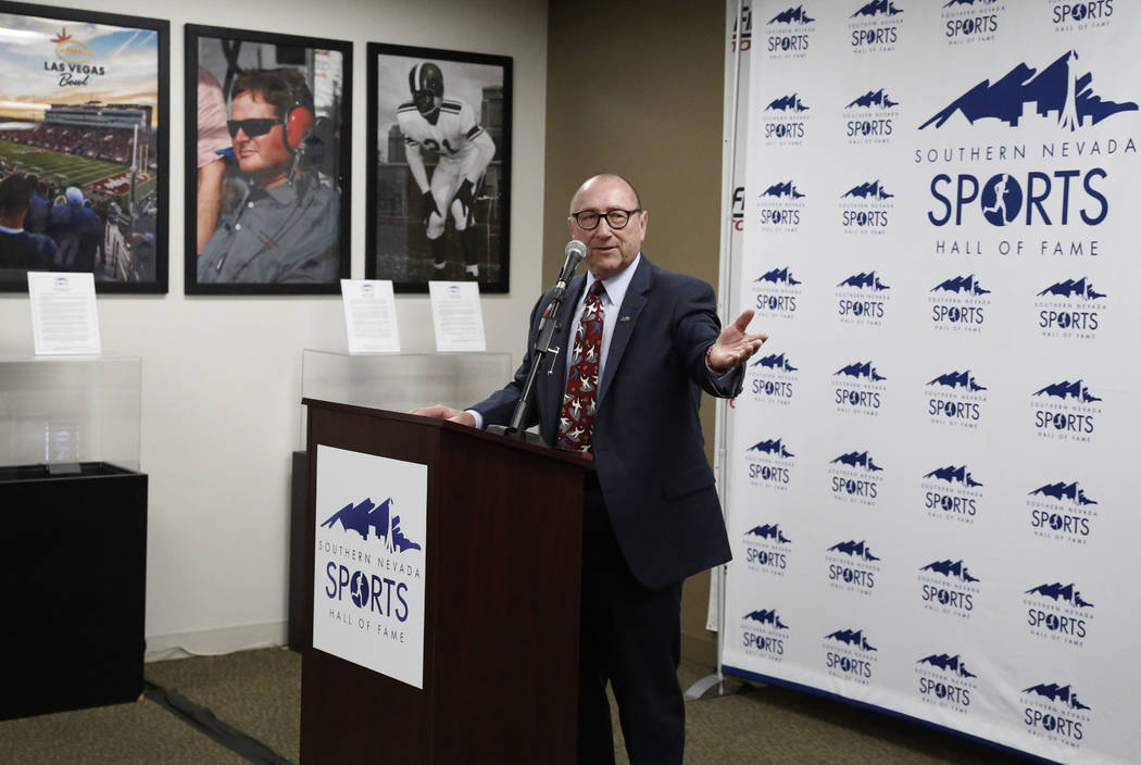 Las Vegas Convention and Visitors Authority President and CEO, Rossi Ralenkotter, speaks after his name was announced for the 2018 Southern Nevada Sports Hall of Fame class at Findlay Toyota on Tu ...