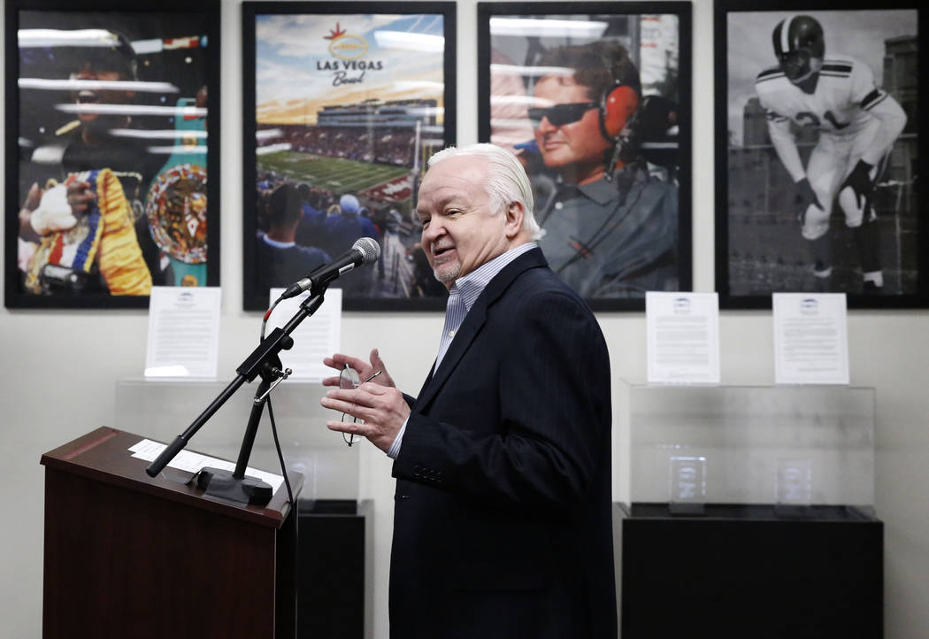 Bob Strumm speaks after the Las Vegas Thunder Hockey Club was picked for the 2018 Southern Nevada Sports Hall of Fame class at Findlay Toyota on Tuesday, Feb. 13, 2018, in Henderson. Bizuayehu Tes ...