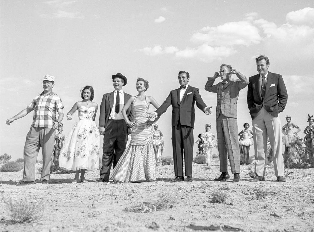 Las Vegas entertainment stars pose for a Colliers Magazine photo shoot on July 21, 1953. Milton Berle, left, Pier Angeli, Red Skelton, Gale Storm, Vic Damone, Spike Jones and Herb Shriner. (Las Ve ...
