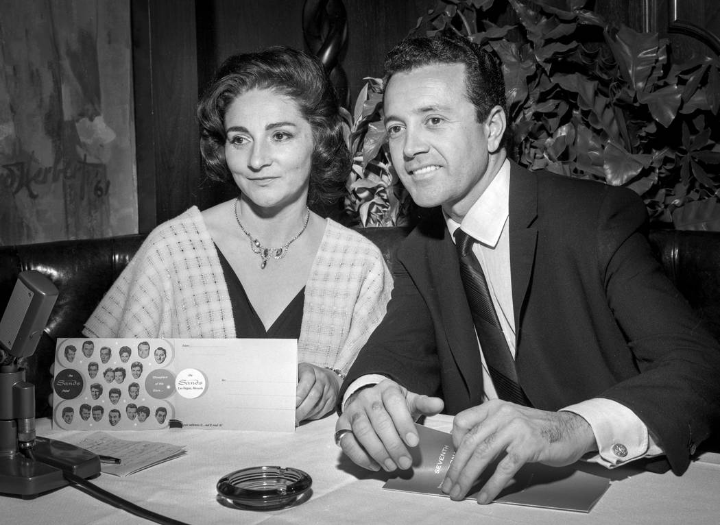 "Actress Pier Angeli and her husband singer Vic Damone are seen during a Feb. 5, 1963 ""Summit at the Sands"" show at the Sands in Las Vegas. (Las Vegas News Bureau)"