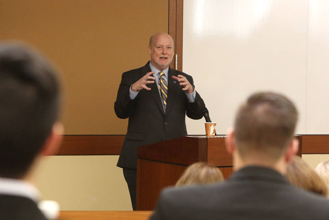 Howard Gillman, chancellor of the University of California, Irvine, speaks during a symposium on Free Speech on Campus on Tuesday, Feb. 13, 2018, at Thomas & Mack Moot Courtroom at the UNLV Bo ...