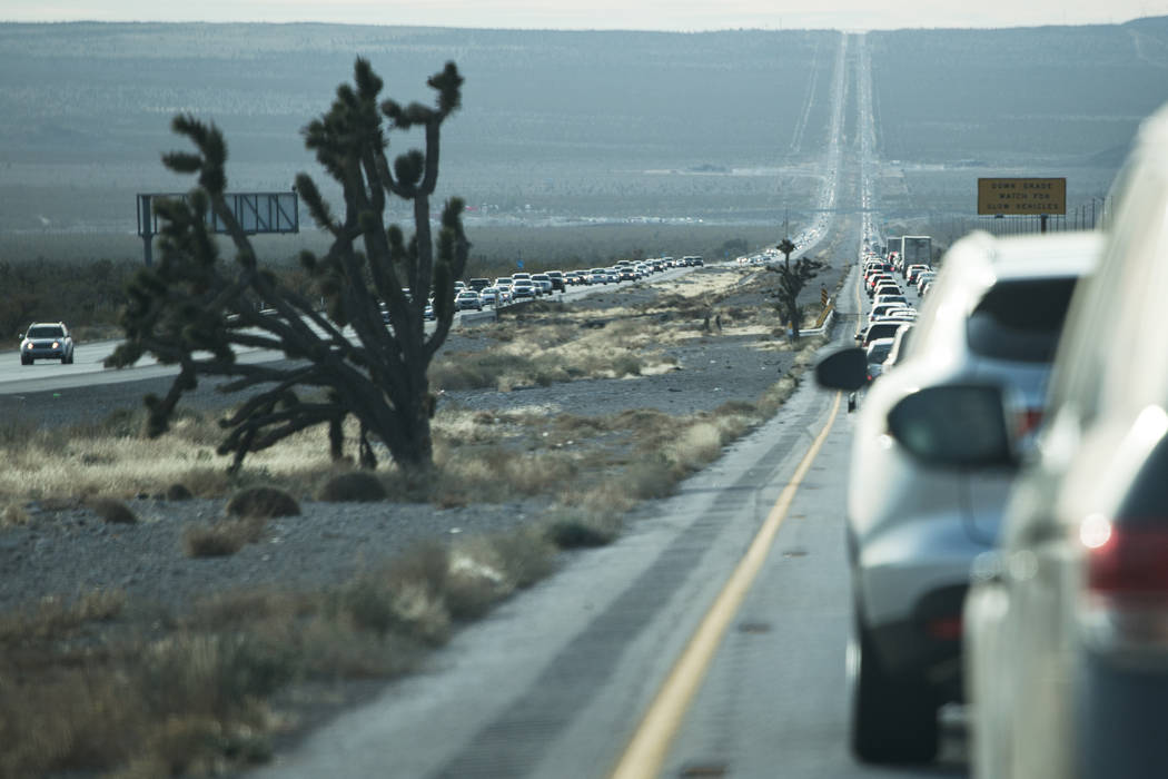 Traffic builds along Interstate 15 on New Year's Day outside Nipton, Calif., Monday, Jan. 1, 2018. Joel Angel Juarez Las Vegas Review-Journal @jajuarezphoto