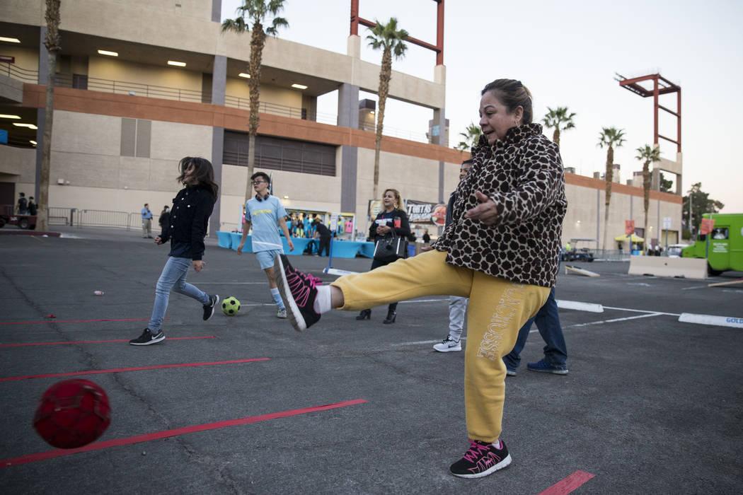 Maria Martinez kicks a ball outside of Cashman Field before a game between the Las Vegas Lights FC and the Vancouver Whitecaps FC in Las Vegas, Saturday, Feb. 17, 2018. Erik Verduzco Las Vegas Rev ...