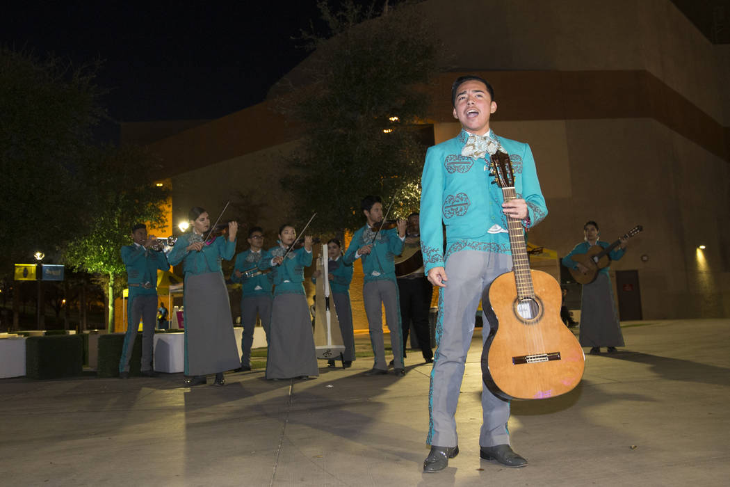 Eric Ortega, 16, with the Las Vegas Academy mariachi, performs outside of Cashman Field in Las Vegas before a soccer game between the Las Vegas Lights FC and Vancouver Whitecaps FC, Saturday, Feb. ...